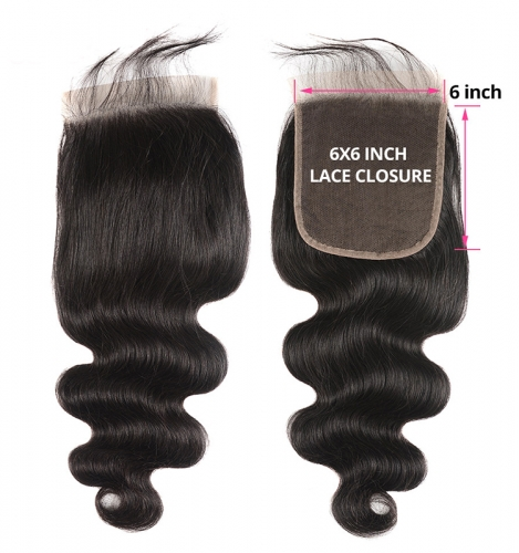 【12A】 6*6 High Quality Body Wave Lace Hair Lace Closure Middle/Free/Three Part Natural Color HumanHair