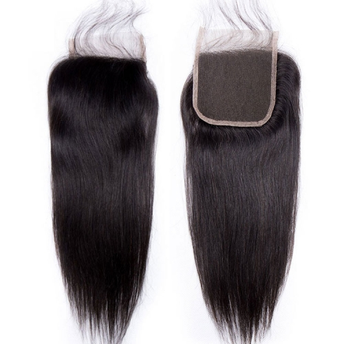 【12A】 4*4 High Quality Straight Lace Hair Lace Closure Middle/Free/Three Part Natural Color HumanHair