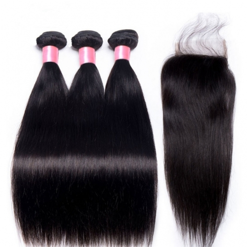 12A 【3PCS+Closure】Peruvian Straight Hair Unprocessed Virgin Hair With 1PC Thin Lace 4x4 Closure Free Shipping
