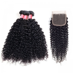 12A 【3PCS+ HD closure】Peruvian Deep Curly Unprocessed Virgin Hair With 1PC Thin Lace 4x4 Closure Free Shipping