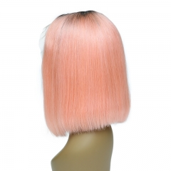 13A Customize High Quality Pink#2 BOB Lace Frontal wig 150% Density Straight Short BOB Hair Virgin Hair 13x4 Lace Frontal Human Hair Middle Part Wigs