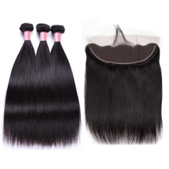 13A 【3PCS+ HD Frontal】Brazilian Straight Hair Unprocessed Virgin Hair With 1PC Thin Lace Closure Free Shipping